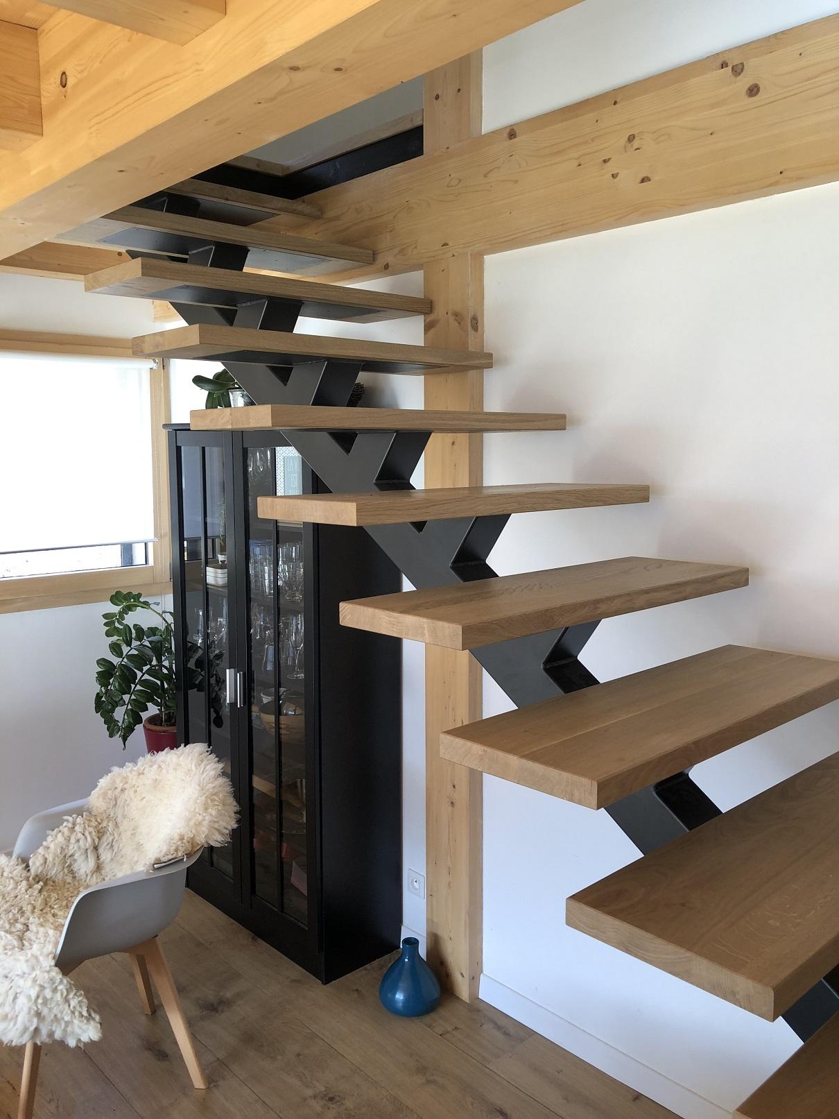 Escalier acier bois sur mesure Aravis